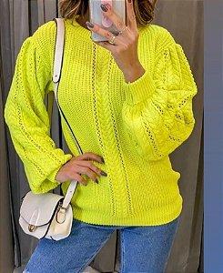 Blusa de tricot com manga Bishop - Amarelo limão neon