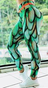 Calça legging empina bumbum com estampa verde 3D TOP