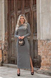 Vestido midi em malha canelada e mangas longas - cinza mescla