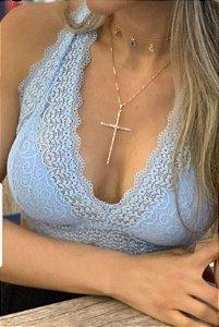 Top rendinha Vivi - Azul bebê