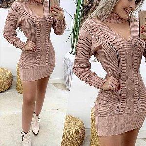 Vestidinho de tricot gola chocker (Maxi blusa) - Rosê