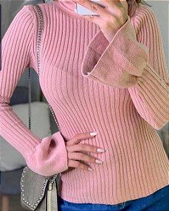 Blusa manga longa em tricot canleado com manga flare - Rosê