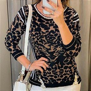 Blusa tricot animal print