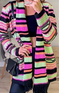 Maxi cardigan de tricot com cachecol embutido - Rosa e verde