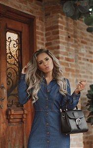 Vestido jeans longo com fenda