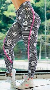 Calça legging fitness levanta bumbum estampa Pink spring