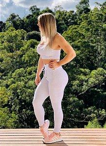 Calça legging fitness levanta bumbum com textura - Branca