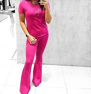 Conjunto em suede blusa e calça flare - Pink