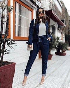 Calça jeans clochard com faixa na cintura - lavagem escura