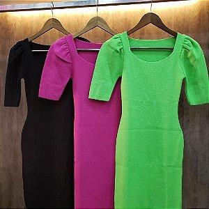 Vestido em modal com manguinha princesa - cores tendência