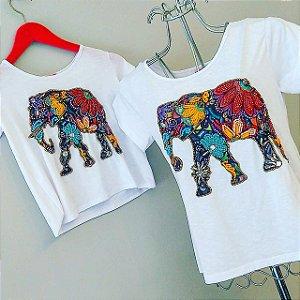 T-shirt bordada à mão - Elephant