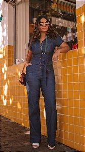 Macacão em jeans fino - Luísa