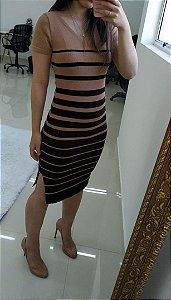 Vestido em modal listrado nude + preto