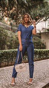 Calça comfy jeans com elástico na cintura