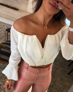 Blusa cropped Paris - Off white