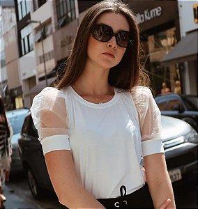 Blusa com manguinha princesa de organza - Off white