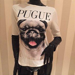 Tshirt PUGUE com detalhe de malha preta no antebraço