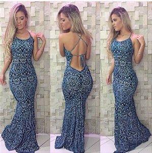 Vestido longo maravilhoso em tons de azul