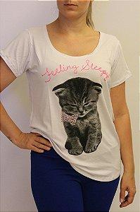 Tshirt divina com estampa de gatinho e lacinho e pedrinhas de strass rosê