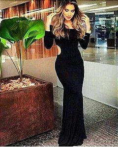 Vestido sereia manga longa preto divino