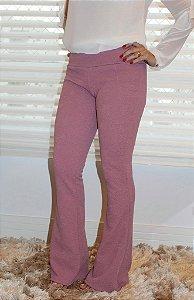 Calça flare jacquard com estampa em relevo monocromático rosê