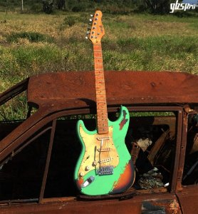Guitarra GBSpro Stratocaster Canhoto Relic - Surf  Green