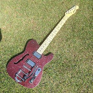 EXCLUSIVO - Guitarra GBSpro Telecaster Semi-Acustica - Vermelho Sparkle + Capa + Correia