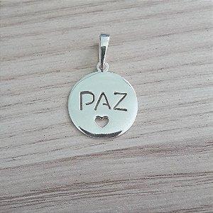 PINGENTE DE PRATA PLAQUINHA PAZ