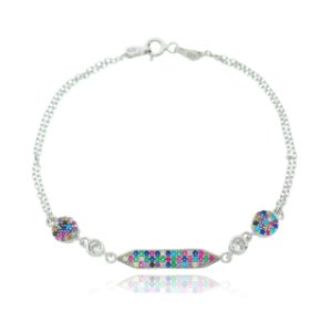 PULSEIRA DE PRATA ZIRCÔNIAS MULTI COLORS