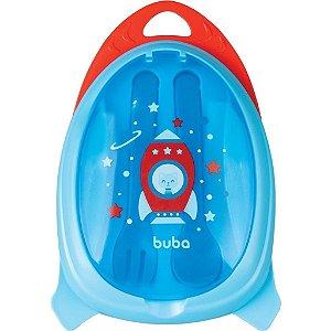 Kit Refeição com Talher Foguete Azul, +6m - Buba