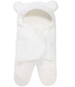 Saco de Dormir Cueiro Ursinho Inverno Branco 0-12 meses