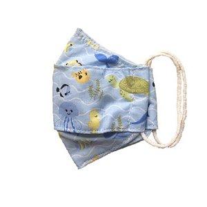 Máscara Infantil Reutilizável Tam M Fundo do Mar