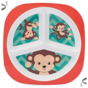 Prato Raso com Divisória Infantil Animal Fun Macaco +6m Buba