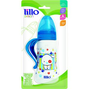 Mamadeira Design Fashion Orto 300Ml c/ Alça Azul - Lillo