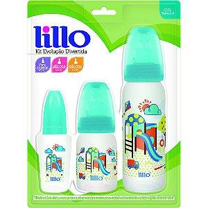 Kit com 3 Mamadeiras Evolução Divertida - Azul - Lillo