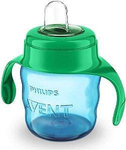 Copo Classic Spout Cup Azul, Bico Silicone 200ml, 6m+, Avent