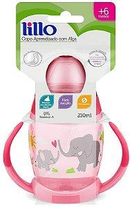 Copo Aprendizado Alça e Bebedor Silicone, 230ml Rosa - Lillo