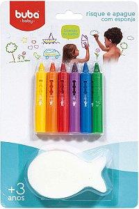 Risque e Apague Com Esponja Colorido - Buba