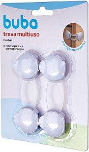 Trava Gaveta Flexível para Bebê, Branco, 2 unidades, Buba