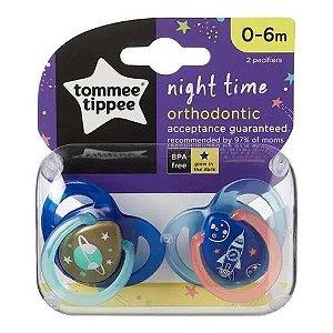 Chupeta Night Time, 2 Und, Azul e Laranja, Tommee Tippee, 0-6m