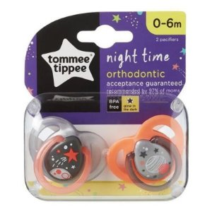 Chupeta Night Time, 2 Und, Cinza e Laranja, Tommee Tippee, 0-6m