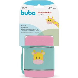 Pote Térmico Inox para Bebê com Colher 320ml Girafa - Buba