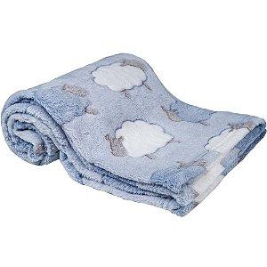 Mantinha para Bebê Ovelhinha Azul, 100% Poliéster, 3m+, Buba