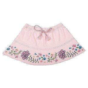 Saia Kids Floral Rosa Claro Lx Têxtil