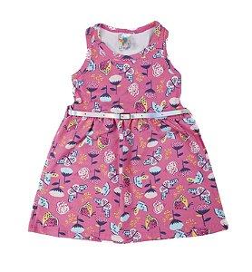 Vestido Kids Rosa Estampado Com Cinto Lx Textil