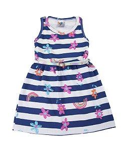 Vestido Kids Listrado Branco e Azul Marinho com Cinto Lx Textil