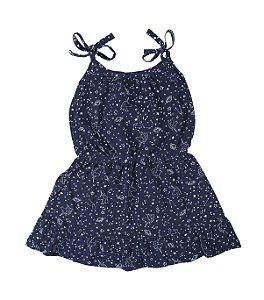 Vestido Infantil Azul Marinho Estampado Lx Textil