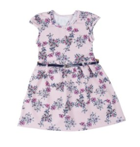 Vestido Infantil Rosa Floral Com Cinto Lx Textil