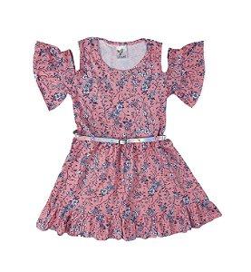 Vestido Malha com Estampas de Flores cor Rosa com Abertura nos Ombros e cinto