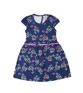 Vestido Infantil Azul Marinho Floral Com Cinto Lx Textil